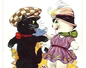 CATS LOVERS with Human CLOTHES - Vintage Comic Printed Colorful Postcard - Art Deco - english & french written - tiny mark left top corner