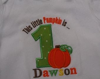 Birthday Pumpkin personalized short Sleeved Onesie or Tshirt