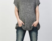 Hand knit Tunic sweater eco cotton woman sweater vest charcoal