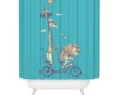 Lion, Giraffe, Shower Curtain, Bicycle Built for Love, Beautiful Animal Shower Curtain - Made in USA - Great Decoration Gift for Bathroom