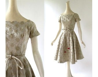 Vintage 1950s Dress | Gold Party Dress | 50s Dress | XS