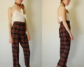 Preppy Plaid Trousers Vintage 60s Preppy School Girl Plaid High Waist Wool Trouser Pants  (xs s)