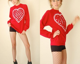 Sweetheart Sweatshirt Vintage 80s Red Saint Valentine Love and Hearts Indie Boho Pull Over Sweatshirt (s m)