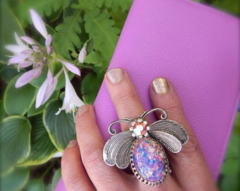 Insect Ring, Boho Ring, Silver Cocktail Ring,, Large Fire Opal Ring, Retro 1960s Style Ring
