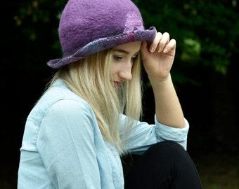felt hat felted Hat purple cloche wool felt hat Felt cloche boho hat nunofelt Hat
