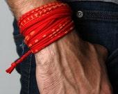 Red Bracelet, Cuff Bracelet, Boyfriend Gift, Gift for Men, Festival Clothing, Mens Gift, Mens Bracelet, Husband Gift, Gift for Boyfriend