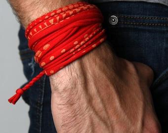 Mens Bracelet, Wrap Bracelet, Red Bracelet, Mens Jewelry, Bohemian Style, Festival Clothing, Festival Wear Men, For Him, Bracelets, Boho