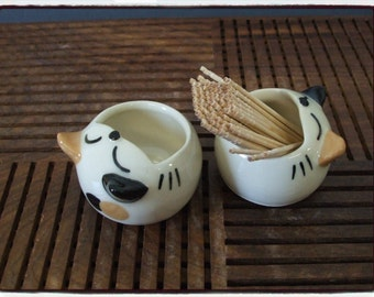 Super Cute Calico Cat Toothpick Holder  by misunrie