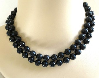 Vintage Beaded Necklace Double Strand Faux Black Crystals - signed
