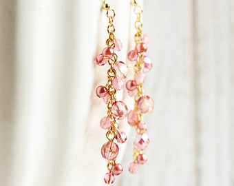 Long Pink Beaded Earrings - Light Pink Earrings with Gold Plated Hooks, Rose Pink Dangle Earrings, Pink Cluster Earrings, Wedding Jewelry
