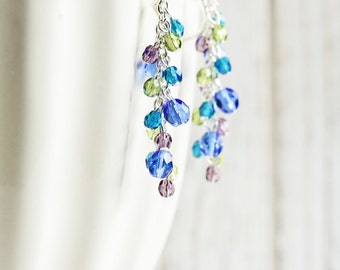 Beaded Cluster Earrings - Purple, Green and Blue Earrings with Silver Plated Hooks, Blue Dangle Earrings, Colorful Jewelry, Cascade Earrings