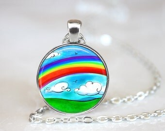 """Rainbow Changeable 1"""" Magnetic Pendant Necklace with Organza Bag"""
