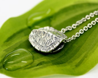 Turtle Shell Charm  Necklace in Solid Sterling Silver Terrapin Tortoise 2066