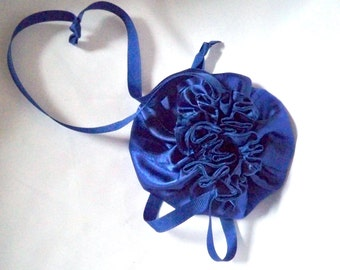 Jewelry Travel Bags, Deep Blue Satin, Ribbon Drawstring, Made To Order