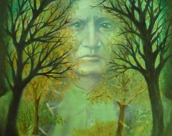 The Spirit of Sitting Bull - Oil Portrait Painting in an Antique Victorian Era Frame