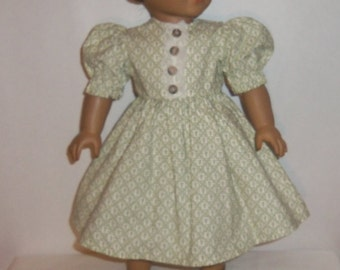 Cotton Party Dress, 18 inch Doll Dress, Green Hearts, 15 Inch Baby Doll, American Made, Girl Doll Clothes