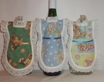 Wine Bottle Apron, Handmade, Dish Soap, Detergent Cover, Teddy Bears, Kitchen Decor,  Eyelet Lace