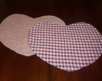Handmade Quilted Placemats, Set of Two, 13x15 Inches, Heart Shaped, Valentine's Day, Burgundy Plaid Homespun, Machine Quilted