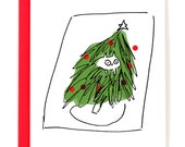 Funny Christmas Card - Cat in Tree - Christmas Cat Card