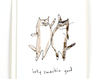 Belly Smackin Good - Funny Cat Card - Superbowl
