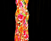 Sexy Feminine Pink Orange Silk Chiffon Beaded Garden Party Dress Hi Low Flutter Hem Vintage 90s CACHE' nwt nos 4 S