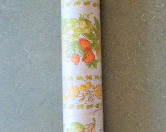 Vintage Wallpaper, Fruit and Flowers, Orange and Yellow Flowers Wallpaper, Wallpaper Roll, Peaches Strawberries, Wall Decor, VIntage Paper