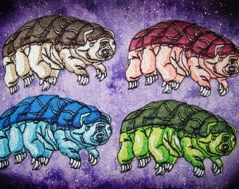 Epic Water Bear Tardigrade  Iron on Patch pick your color