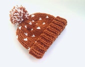 Chunky Knit Winter Hat, Pompom Hat, Knit Slouchy Hat, Fitted Hat, Rustic Hat