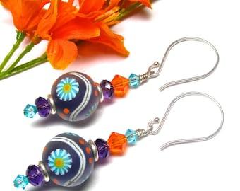 Colorful Earrings Purple Earrings Unique Earrings Round Bead Earrings Lampwork Earrings Glass Earrings Artisan Earrings Beaded Earrings