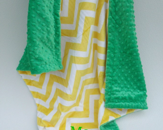 Kelly Green and Yellow Chevron Minky baby BlanketCan Be Personalized