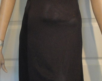 Vintage Black Nylon Alida Nightgown with Rose Appliques B38