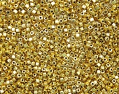 3mm (1mm hole) Antique Bright Gold Base Metal Cornless Cube Spacer Beads - Qty 100 (G355)
