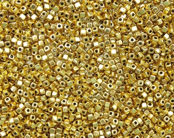 3mm Bright Gold Metal Cornerless Cube Spacer Beads - Qty 100 (G355)