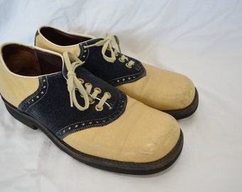 sale Vintage SADDLE SHOES mens size 8 or 9 cream leather and suede