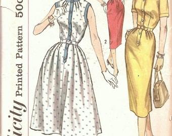 1950s Vintage Sewing Pattern - 50s Dress Pattern - Sheath Dress - Gored Dress - Simplicity 2418 - UNCUT