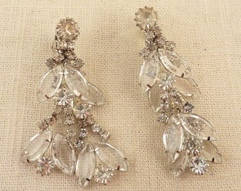 Vintage Chandelier Clip On Earrings with Openback Prongs set with Marquise Clear Rhinestones
