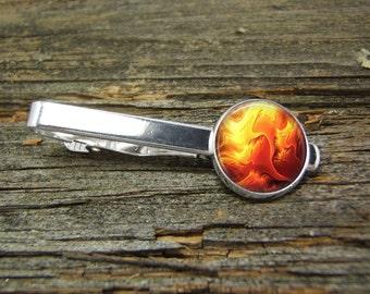 Steampunk Fire Flame 1 Tie Clip-Silver-Gold-Tie Clip Box-Gift Box-USA-Wedding-Keepsake-Man Gift-Groom-Groomsmen-Hot Stuff-Science-Fireman