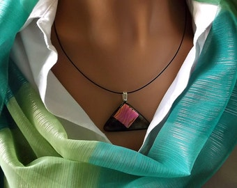 Color changing Dichroic Pink and Gold on Triangular Metallic Art Glass Pendant DGP298A5 - By Dune Glass with FREE Shipping in the USA