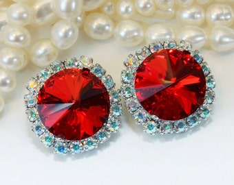 Red Clip Earrings Red Crystal Earrings Red Clip on AB Ruby Red Swarovski Christmas Bridal  Red Wedding 14mm Halo,Silver,Light Siam,SE110