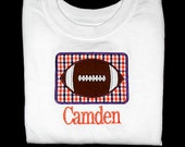 Custom Personalized Applique FOOTBALL PATCH and NAME Shirt or Bodysuit - Clemson Tigers Colors - Purple and Orange