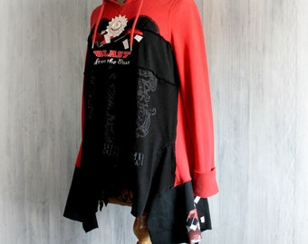 Black Upcycle Hoodie Lagenlook Jacket Hooded Sweatshirt Loose Fit Layers Red Boho Tunic Eco Chic Festival Clothing Art Wear XS/S 'BROOKLYN'
