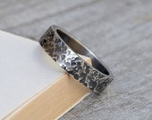 Textured wedding band 5.5 mm wide, rustic wedding ring, special wedding band, ring for him, unisex ring, handmade in the UK