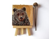 Brown Bear Painting Miniature Fine Art animal totem acrylic on canvas mini wildlife portrait tiny art for shelf original affordable art gift