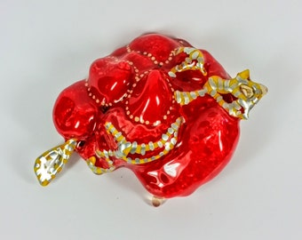 Lumpy Red Growth Party Brooch