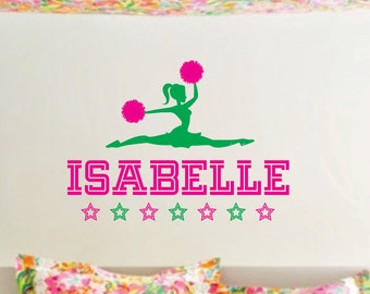 Cheerleader Wall Decal with Girl Name Dance Cheer Wall Decal Personalized Preppy Girl Wall Decor Bedroom College Dorm Varsity Cheerleader