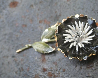 Vintage Black and White Enamel Flower Brooch Pin