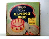 Vtg Mirro Aluminum 8 Mold Set 1950s Original Box Jello Short Cakes Molded Salads New Condition w/recipes