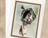 Greeting Card  - Melancholy Artwork - Reflection - face  - Emotionally Scarred