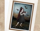 Art Greeting Card & Envelope - Gothic Girl Playing Violin - Bats - The Song She Played