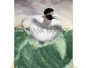 Storm In A Teacup - Aceo Card - Blindfolded Girl At Sea